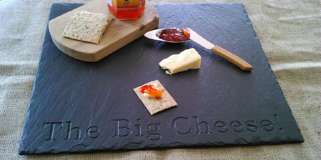 The Big Cheese Personalised Slate Board with Stainless Steel Cheese & Christmas Gifts for the Cheese Lover - The Big Cheese Making Kit